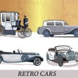 Set of retro cars — Stok Vektör