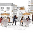 Vecteur: Series of street cafes in city with drinking coffee