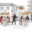 Stock Vector: Series of street cafes in city with drinking coffee