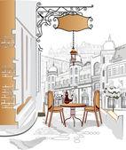 Aantal straatcafés in de oude stad — Stockvector