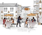 Aantal straatcafés in de stad met het drinken van koffie — Stockvector