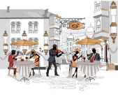 Series of street cafes in the city with drinking coffee — Stockvector