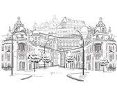 Serie de dibujos de hermosas vistas de la ciudad vieja — Vector de stock