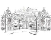 Series of sketches of beautiful old city views — Cтоковый вектор