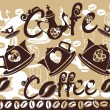 Coffee background with stylized coffeepots, cups — Imagen vectorial