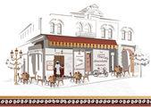 серия уличных кафе — Cтоковый вектор
