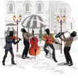 Street cafes in the city with musician — Imagen vectorial