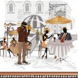 Street cafes in the city with musician — Stockvectorbeeld