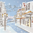 Stock Vector: Christmas card - Winter on streets