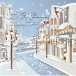 Christmas card - Winter on the streets — Imagen vectorial