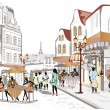 Series of streets with cafes in old city — Vector de stock #35667693