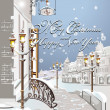 Christmas card, winter in the city — Vektorgrafik