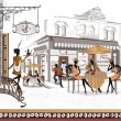 Series of street cafes in old city — стоковый вектор #35921393