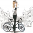 Sketch of young fashion girl with a bicycle — Stock Vector