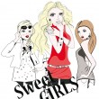 Sketch of young fashion girls — Stock Vector #37550579