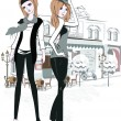 Stock Vector: Sketch of young fashion girls