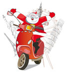 Santa Claus on the scooter around the world — Stock Vector