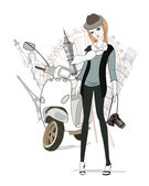 Sketch of young fashion girl with the scooter — Vector de stock
