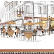 series of street cafes in the old city — Stock Vector #40773951