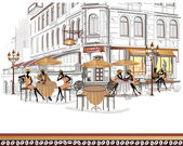 Series of street cafes in the old city — Stock Vector