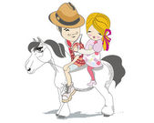 Romantic couple travels on a white horse — Stock Vector
