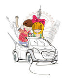 Romantic couple travels by car to the sights — Stockvector