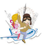 Romantic couple travels by airplane to the sights — Stock Vector
