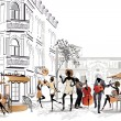 Series of street cafes in the old city with people — Stock Vector #51350537
