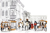 Series of street cafes in the old city with people — Vector de stock