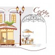 Series of old streets with cafes in sketches — Stock Vector #9473469