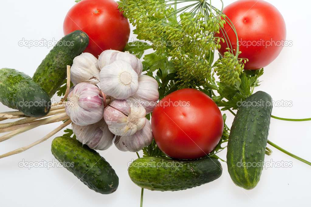 Fresh vegetables on the white background — Stock Photo #12520952