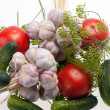 Stock Photo: Fresh vegetables on the white background