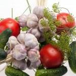 Fresh vegetables on the white background — Stock Photo