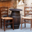 Tuscany - tables on the street — Stock Photo