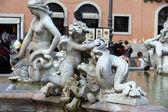 Piazza Navona, Neptune Fountain in Rome, — Stock Photo