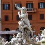Piazza Navona, Neptune Fountain in Rome — Stock Photo