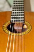 Detailní záběr akustická kytara — Stock fotografie
