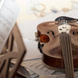 Close-up picture of the old  violin with score — Stock Photo