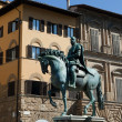 Stock Photo: Florence - PiazzdellSignoriequestristatue of Cosimo I de Medici by Gianbologna