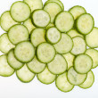 Foto Stock: Freshly sliced cucumber isolated on white background
