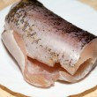 Piece of fresh raw fish. The healthy diet. — Stock Photo