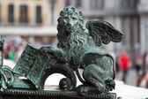 Veneza - o leão de são marcos. no momento da entrada no campanile — Foto Stock