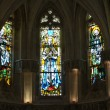 Постер, плакат: The stained glass windows inside Chapel St Hubert where Leonardo Da Vinci is buried in Amboise France