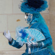 Stock Photo: Blue lady in carnivalesque costume and venetimask