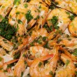 Fried shrimps with the garlic and the parsley — Stock Photo