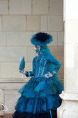 The blue lady in the carnivalesque costume and venetian mask — Stock Photo