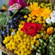 Beautiful bouquets of flowers and herbs — Stockfoto