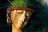 The flower pot in the form of the feminine head — Foto Stock
