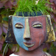 The flower pot in the form of the feminine head — Foto de Stock