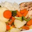 The healthy diet. The salmon with vegetables — Stock Photo
